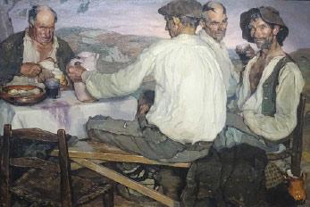 KunstFühlung Events. Bild: Ignacio Zuloaga: Spanische Bauern. 1905